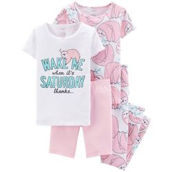 Carters Big Girls 4-pc. Wake Me Saturday Sloth Pajama Set