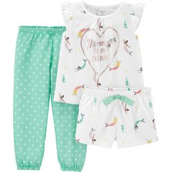 Carters Toddler Girls 3-pc. Mermaid In My Dreams Pajama Set