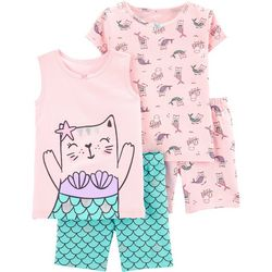Carters Toddler Girls 4-pc. Cat Mermaid Pajama Set