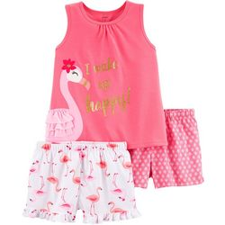 Carters Little Girls 3-pc. I Wake Up Happy Pajama Set