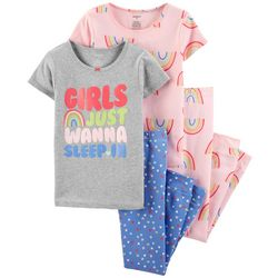 Carters Little Girls 4-pc. Girls Wanna Sleep In Pajama Set