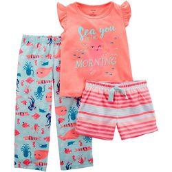 Carters Toddler Girls 3-pc. Sea In The Morning Pajama Set