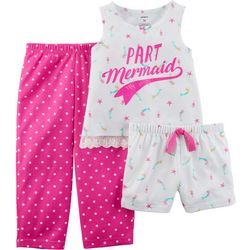 Carters Toddler Girls 3-pc. Part Mermaid Dot Pajama Set