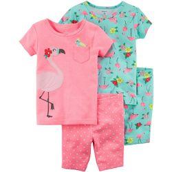 Carters Little Girls 4-pc. Flamingo Dot Pajama Set