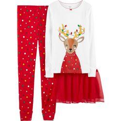 Carters Little Girls 3-pc. Reindeer Dot Tutu Pajama Set