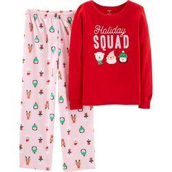 Carters Little Girls Holiday Squad Bow Pajama Set