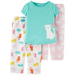 Carters Toddler Girls 3-pc. Poly Cat Pajama Set