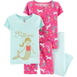 Carters Toddler Girls 4-pc. Mermaid & Unicorn Sleepwear Set