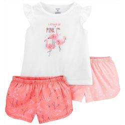 Carters Toddler Girls 3-pc. Poly Flamingo Pajama Set