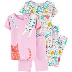 Carters Little Girls 4-pc. Cats Snug Fit Pajama Pants Set