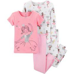 Carters Toddler Girls 4-pc. Stripe Ballerina Pajama Set