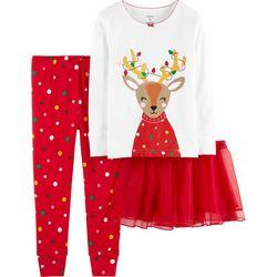 Carters Toddler Girls 3-pc. Reindeer Tutu Pajama Set