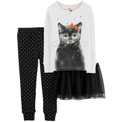 Carters Toddler Girls 3-pc. Bat Cat Tutu Pajama Set