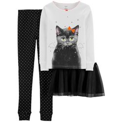 Carters Little Girls 3-pc. Bat Cat Tutu Pajama Set