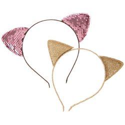 Nicole Miller Girls 2-pk. Sequins & Glitter Cat Headband