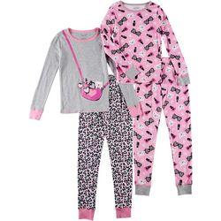 Rene Rofe Big Girls 4-pc. Kitty Purse Pajama Pants Set