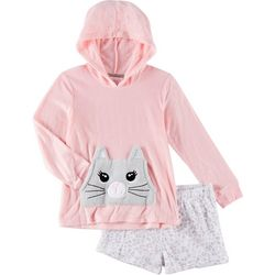 Rene Rofe Big Girls 2-pc. Cat Hoodie & Pajama Shorts Set