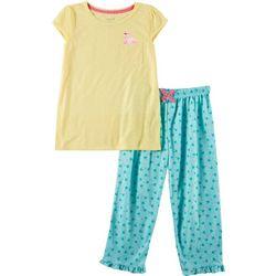 Rene Rofe Big Girls 2 -pc. Flamingo Palm Pajama Set