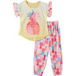 Nautica Big Girls Pineapple Sunshine Pajama Pants Set