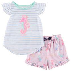 Nautica Toddler Girls Seahorse Pajama Shorts Set