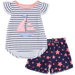 Nautica Toddler Girls Sailboat Pajama Shorts Set