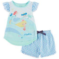 Nautica Toddler Girls Mermaids Pajama Shorts Set