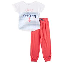 Nautica Big Girls Take Me Sailing Pajama Pants Set