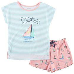 Nautica Big Girls Stripe Sailboat Pajama Shorts Set