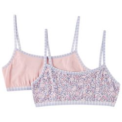 Laura Ashley Girls 2-pk. Solid & Floral Comfort Bras