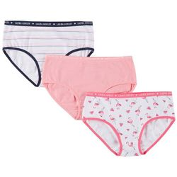 Laura Ashley Girls 3-pk. Flamingo & Striped Panties