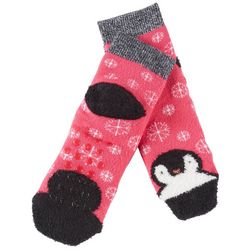 Cuddl Duds Girls Penguin Slipper Socks