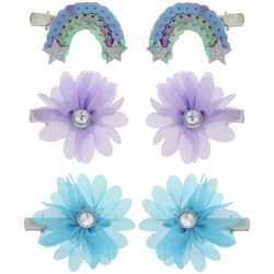 Capelli Girls 6-pk. Glitter Rainbow & Flowers Hair Clips