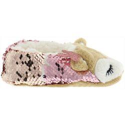 Capelli Girls Sequin Reindeer Slippers