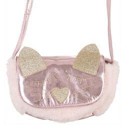 Olivia Miller Girls Fuzzy Cat Face Crossbody Purse
