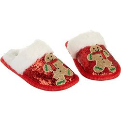Mushmellow Girls Sparkly Gingerbread Man Slippers
