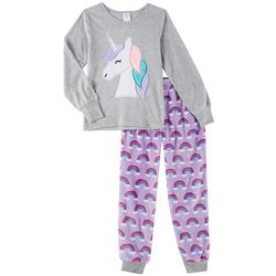 Jelli Fish Inc. Big Girls 2-pc. Unicorn Rainbow Pajama Set