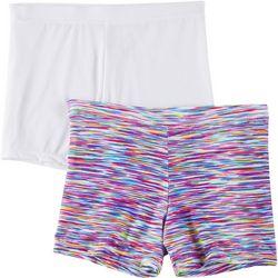 Maidenform Girl Girls 2-pk. Striped Playground Bike Shorts