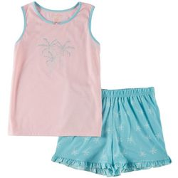 Jessica Simpson Big Girls Palm Tree Ruffle Pajama Shorts Set
