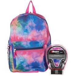 F.A.B. NY Girls Tie Dye Backpack & Headphones Set