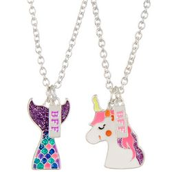 Capelli Girls 2-pk. Mermaid & Unicorn BFF Necklaces