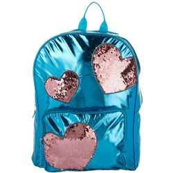 Disney Girls Foil Sequin Hearts Backpack