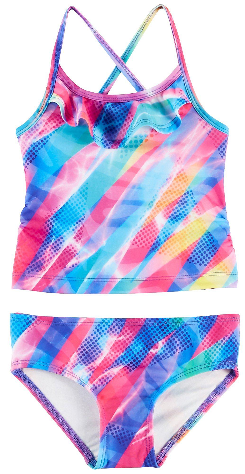 d1228389e3 Reel Legends Toddler Girls Unicorn Flounce Tankini Swimsuit | eBay