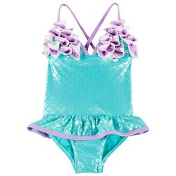 Floatimini Toddler Girls Mermaid Ruffle Flower Swimsuit