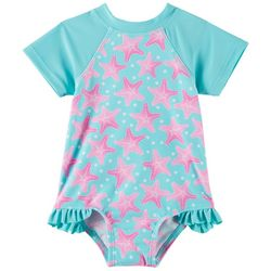 Floatimini Baby Girls Starfish Short Sleeve Swimsuit