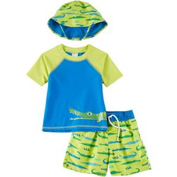 Floatimini Baby Boys 3-pc. Alligator Rashguard And Hat Set