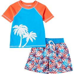 Floatimini Toddler Boys 2-pc. Palm Tree Rashguard Set