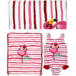 Dreamwave Toddler Girls 3-pc. Flamingo Swimsuit Set