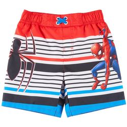 Marvel Toddler Boys Striped Spider-Man Swim Trunks