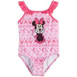 Disney Minnie Mouse Toddler Girls Floral Ruffle Swimsuit
