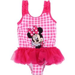 Disney Minnie Mouse Toddler Gingham Rufflle Skirt Swimsuit